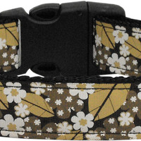 Autumn Leaves Nylon Ribbon Dog Collars Medium