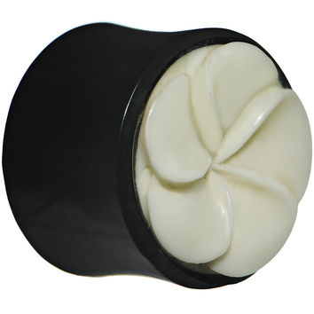 0 Gauge Organic Buffalo Horn and Bone Flower Hand Carved Plug