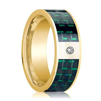 Mens Wedding Band 14K Yellow Gold and Diamond with Black & Green Carbon Fiber Inlay Flat Polished Design