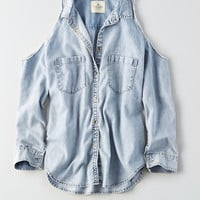 AEO Cold Shoulder Denim Shirt, Light Wash