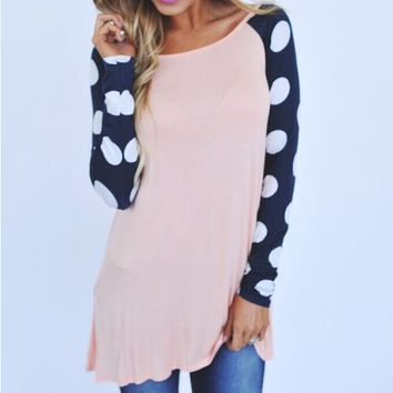 Dot Print Sleeve Sweater