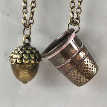 Peter Pan & Wendy Kiss Thimble and Acorn Necklace Set Brass - Men - Women - Sweetheart - Lover - Sister - Best Friend (2 Necklaces)