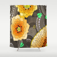 Concentric Floral Orange  Shower Curtain by DuckyB (Brandi)