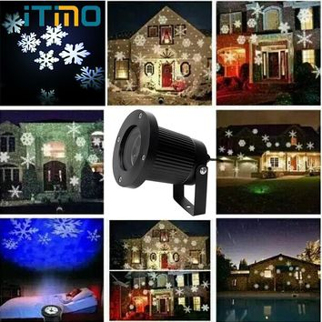 ITimo Moving Snow Laser Projector Lamp Waterproof New Year Christmas Holiday Lighting Garden Landscape Snowflake LED Stage Light