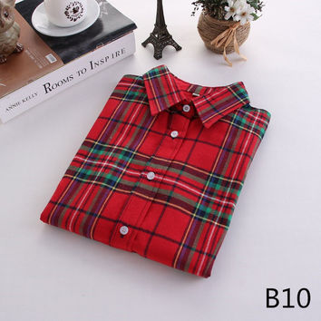 For Her: Red Green Medium - 5XL Plaid Flannel Long Sleeve Shirt