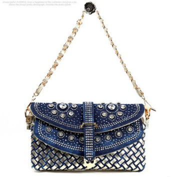 Ladies Vintage Denim Rivet Rhinestone Chain Shoulder Bag Clutch Evening Bags