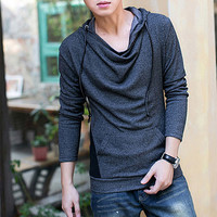 Designer Slim Fit Cotton Tee with Hood