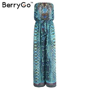 LMFGC3 BerryGo Causal boho elastic chiffon drilling playsuit Summer beach leopard women jumpsuit romper Elegant sexy women overalls