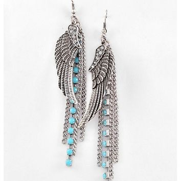 441225 Burnished Silver Tone Metal / Turquoise Acrylic / Lead Compliant / Angel Wing Dangle / Western Theme / Fish Hook Earring