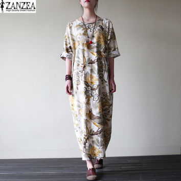 ZANZEA Womens Vintage Random Floral Print Cotton Pockets Casual Party Loose Maxi Long Dress Kaftan Vestido Plus Size