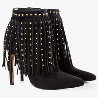 Studded Fringe Heel Runway Bootie from EXPRESS