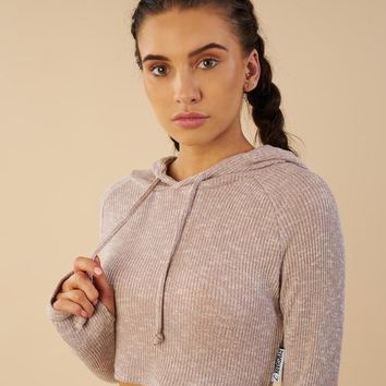 Gymshark Slounge Cropped Hoodie - Taupe Marl