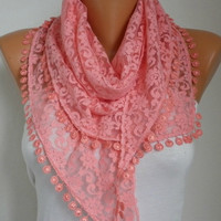 BIG SALE Light Coral  Lace Scarf -  Shawl Scarf Women Scarves Cowl Scarf Bridesmaid Gift - fatwoman