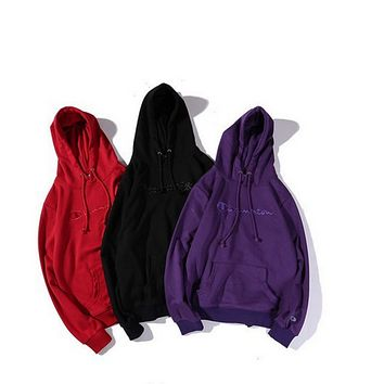 Champion new men and women hoodie simple embroidery students couple leisure wild hooded pullover thin sweater