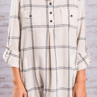 Away We Go Plaid Tunic, Off White