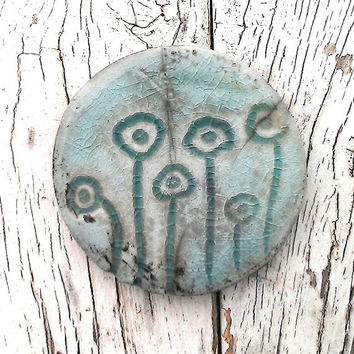 Rustic Raku Ceramic Pendant Poppies Turquoise Crackle Glaze