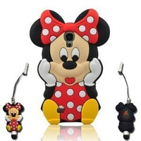 I Need Lovely 3D Red Minnie Mouse Soft Silicon Case Cover Compatible for Samsung Galaxy S4 SIV i9500 With 3D Minnie Mouse Stylus Pen