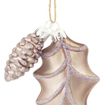 """4"""" Matte Finish Pewter Gray Country Rustic Style Leaf and Pinecone Glass Christmas Ornament"""