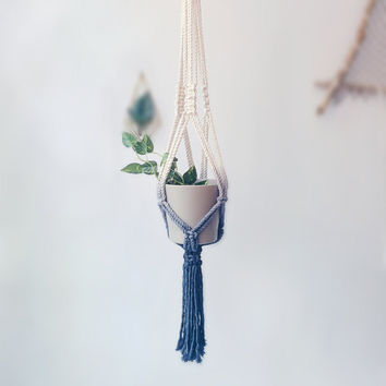 Cotton Macrame Plant Hanger | Hand Dip Dyed | Dark Blue