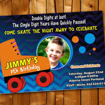 Roller Skating Invitation Birthday, Birthday Invitation for little boy and little girl