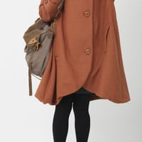 Orange cloak wool coat Hooded Cape women Winter wool by MaLieb