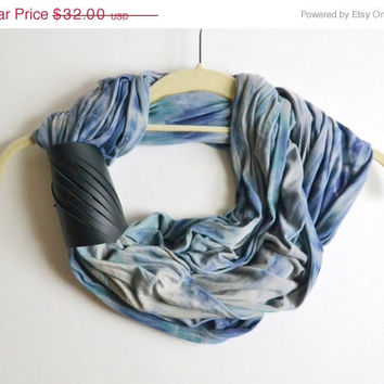 ON SALE Hand Dyed Infinity Scarf - Infinity Scarf with Leather Cuff - OOAK Infinity Scarf