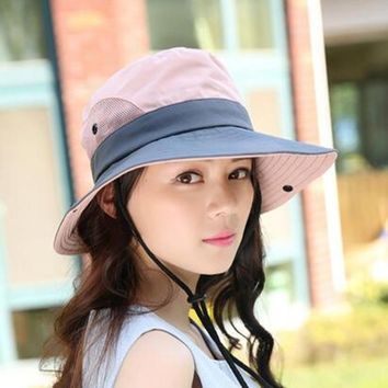 XdanqinX Women's Summer Breathable Sun Hat Foldable Couple Bucket Hats Wind Rope Fixed Adjustable Size Beach Caps Fishing Hat