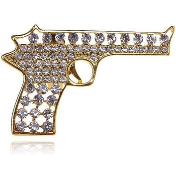 Urban Gold Tone Gun Pistol Crystal Clear Bling Rhinestone Big Adjustable Ring