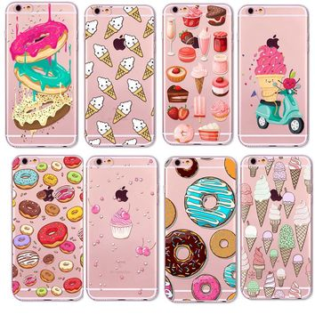 Rainbow Color Food Donuts Macaron Phone Cases For iphone 6 6S Pizza Transparent Soft TPU Cover For iphone 6 Case
