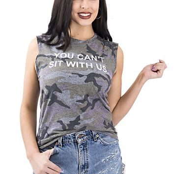 Women's Mean Girls Quote Camouflage Graphic Muscle Tank