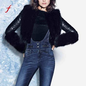 FEITONG Fashion Jackets For Women Winter Warmer Coat Motorcycle Jacket Leather Faux Fur Outwear Cardigan Casual Black Overcoat
