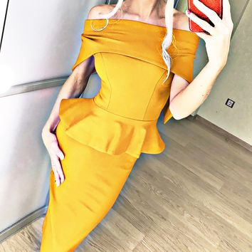Best selling new product word collar off the shoulder ruffled long dress female