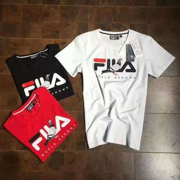 FILA STAPLE Woman Men Print Short Sleeve Tunic Shirt Top Blouse