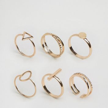 ALDO Delicate Geometric Stacking Rings at asos.com