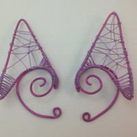 Shocking Pink and Lilac Wire Elf Ear Tips / Ear Extensions