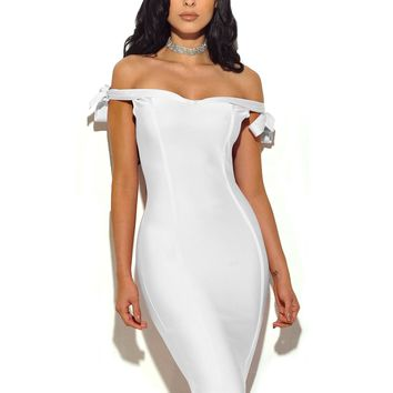 Chalita White Off The Shoulder Bandage Dress