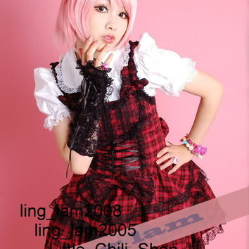 Sweet LOLITA QUENNY GOTHIC PUNK Cute RED Plaid DRESS+Shirt+Headdress S~L