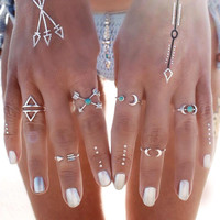 Vintage Turkish Beach Moon Arrow Ethnic Silver Boho Knuckle Finger 6 PC Ring Set
