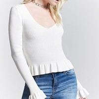 Ruffled Sweater-Knit Top