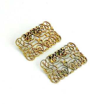 Vintage Shoe Clips, Womens Gold Tone Filigree Shoe Clips by MUSI