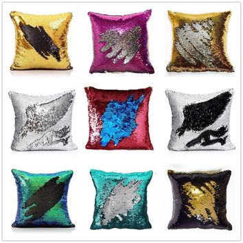 "16"" MERMAID Sequin PILLOW Cover * MAGICAL Color Changing REVERSIBLE"