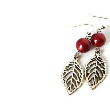 Dangle Earrings with Burgundy Beads and Leaf Charm on Nickel Free Hooks. Simple Earrings.