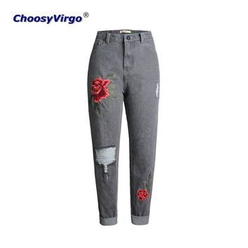 ChoosyVirgo  Boyfriend Casual Loose Ripped Ladies Jeans Oversized Straight denim Pants Rose Embroidery Hole Women Trousers