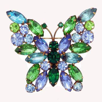 Vintage Weiss Blue and Green Rhinestone Butterfly Brooch