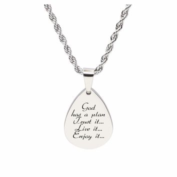 Teardrop inspirational Tag Necklace - GOD HAS A PLAN