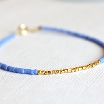 Gold Filled Bracelet - 14kt Gold Filled Bracelet - Blue Beaded and Gold Vermeil Bracelet - Minimalist Bracelet
