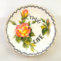 Thug Life Ornamental Vintage Floral Saucer Decorative Gangster Display Dish Hiphop Ironic Decoration Bone China Funny Gift Ring Holder Rap