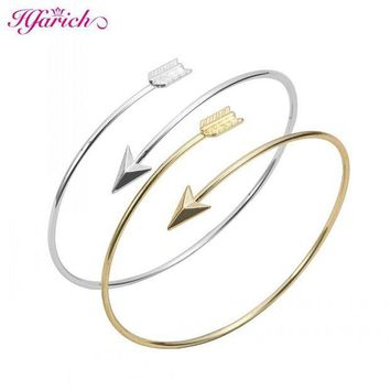 DCCKFV3 Hfarich Classic Adjustable Arrow Bracelets & Bangles for Women Gold Wrapped Arrow Wire Cuff Bangles Party Gift Female EY-G016