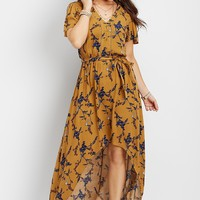 slit sleeve floral maxi dress | maurices
