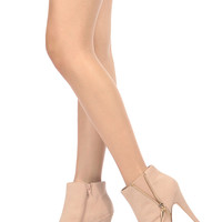 Nude Faux Suede Unzipped Zipper Accent Platform Ankle Booties